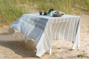 """Lininė dryžuota staltiesė, skalbta. Gamintojas – AB""""Siūlas"""""""