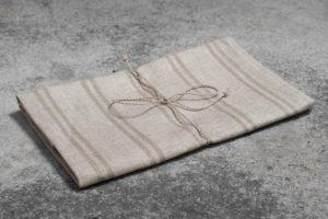 """Lininis pilkas dryžuotas virtuvės rankšluostukas; pagamintas Lietuvoje, AB""""Siūlas"""""""