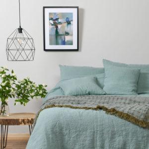 """Melsvai žalsva skalbta lininė patalynė (pagalvės, anklodės užvalkalas, paklodė). Gamintojas – AB""""Siūlas"""""""