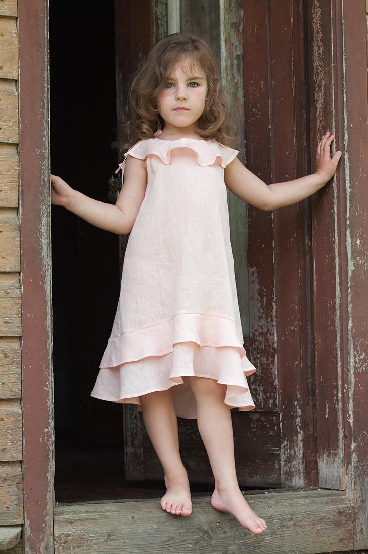 Rausva lininė suknelė mergaitei, be rankovių, pagaminta AB Siūlas