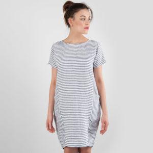 """Lininė suknelė dryžuota, mėlynos ir pieno baltumo juostelės, pagaminta AB """"Siūlas"""""""