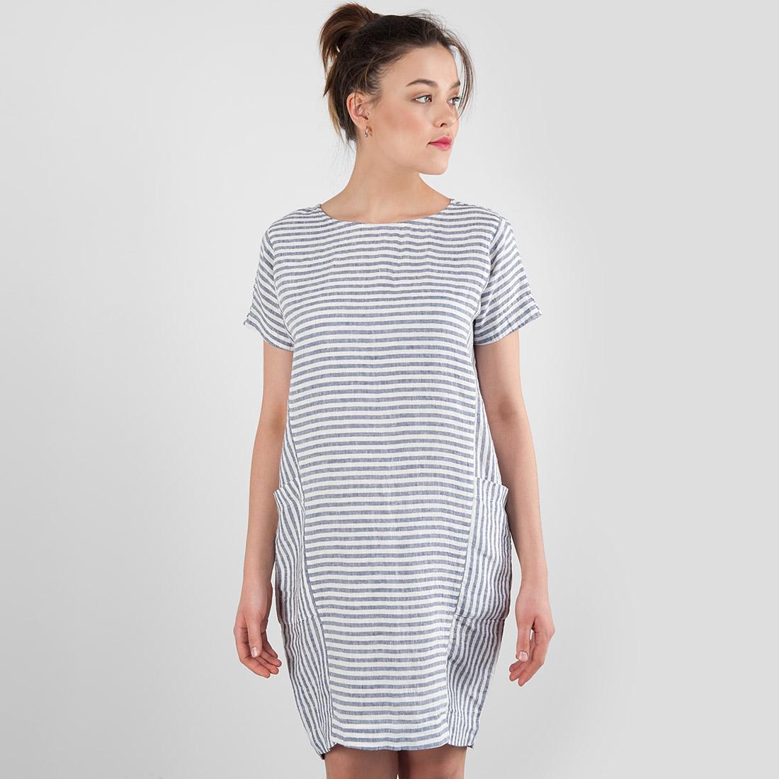 Lininė suknelė dryžuota, mėlynos ir pieno baltumo juostelės, pagaminta AB