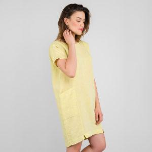 """Lininė suknėlė geltonos spalvos, trumpa. Gamintojas - AB""""Siūlas"""""""