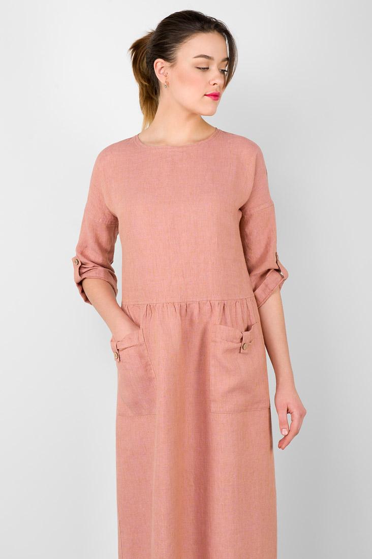 Ilga rausva lininė suknelė, pagaminta AB Siūlas