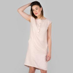 """Švelniai rožinė lininė suknelė iš skalbto minkšto audinio, pagaminta AB""""Siūlas"""""""