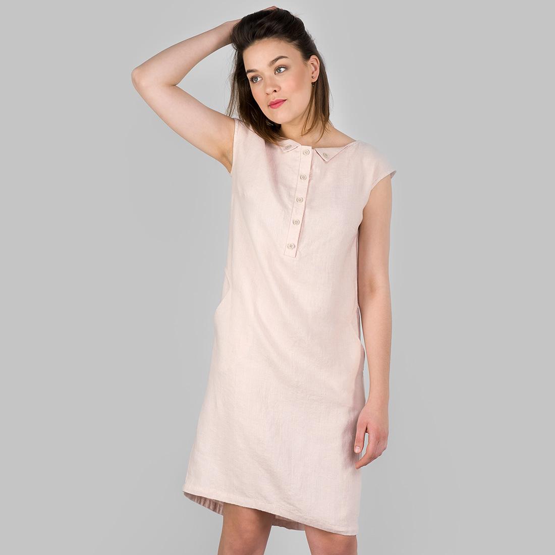 Švelniai rožinė lininė suknelė iš skalbto minkšto audinio, pagaminta AB