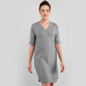 """Pilka lininė suknelė iš minkšto skalbto audinio. Gamintojas - AB""""Siūlas"""""""