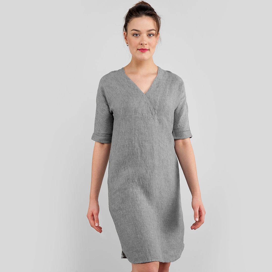 Pilka lininė suknelė iš minkšto skalbto audinio. Gamintojas - AB