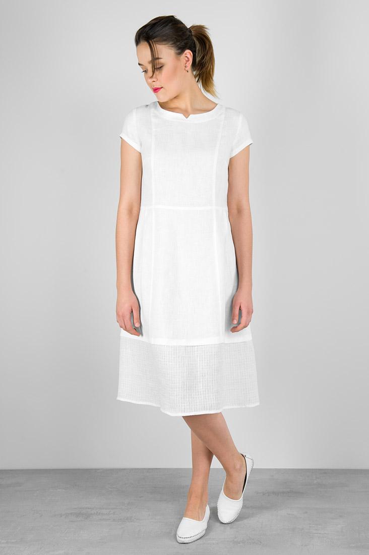 Balta lininė suknelė, pasiūta AB