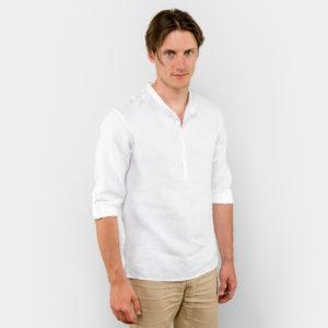 Lininiai balti vyriški marškiniai, reguliuojamomis rankovėmis, pagaminti AB Siūlas