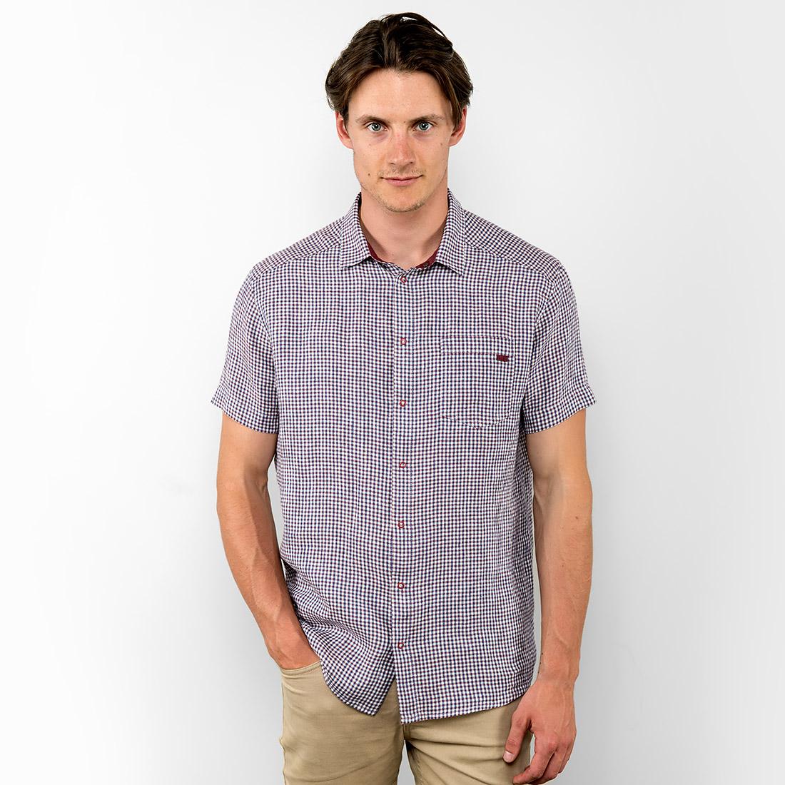 Lininiai vyriški marškiniai, violetiniai languoti, pagaminti AB Siūlas