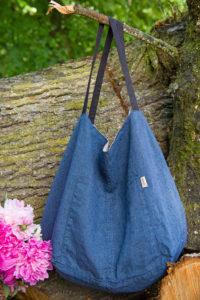 Lininis dvipusis krepšys, mėlynas – pilkas, pagamintas AB Siūlas