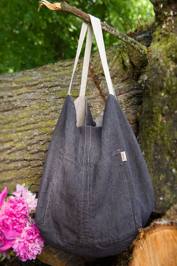 Lininis dvipusis krepšys, pilkos spalvos, pagamintas AB Siūlas
